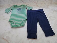 Baby Boy 3 Months Carters Green Long Sleeve Romper Blue Stretch Pants Outfit