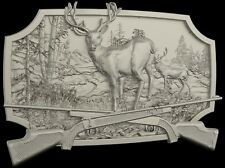 STL 3D Model # DEER & RIFLES #  for CNC Aspire Artcam 3D Printer