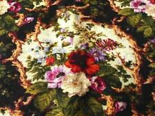 """FRENCH 1840 WOOL/SILK WALL UPHOLSTERING FABRIC ROOT VIGNETTES FLOWERS 102x32"""""""