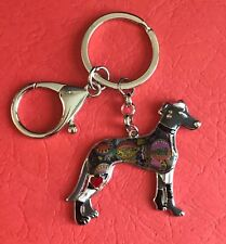 Enamel Greyhound Keyring with Split Ring and Lobster Clip