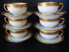 Set 6 Antique Limoges Raised Gold Encrusted Fleur Lis Gilt Tea Cup Saucers 13pc