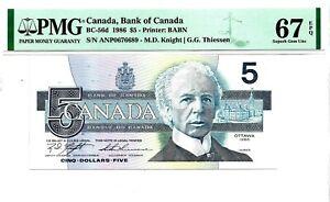 PMG 67 SUPERB GEM UNC - 1986 CANADA $5