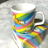 Vintage 1978 Garfield Banzai! Jumping on Birthday Cake by Jim Davis Ceramic Mug