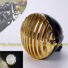 """5 3/8"""" SCALLOPED BRASS HEADLIGHT MOTORCYCLE FINNED GRILL LED SPORTSTER XS650 XL"""