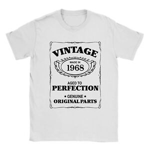 50th Birthday T-Shirt Born In 1968 Mens Present Gift Age - Aged to Perfection