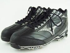 MIZUNO 9 Spike Baseball Cleats Metal Cleats - Black and Silver - Men's 16 - NEW