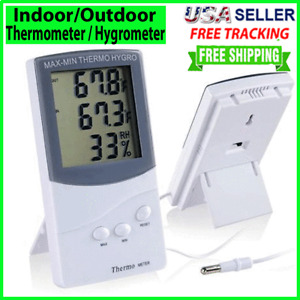 LCD Indoor/Outdoor Thermometer Digital Hygrometer Temperature Humidity Display