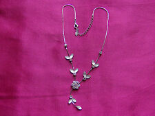 Necklace Silver Tone with flower/leaf design, diamante and opaque white stones