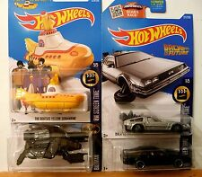 Hot Wheels.MOVIE CARS#10 YELLOW SUBMARINE, DELOREAN TIME MACHINE, K.I.T.T. BAT