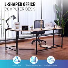 L Shaped Gaming Computer Corner Desk W Cable Management 66x19 47x19 Oak Home