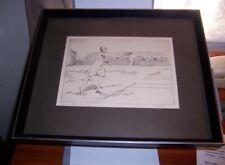 vintage etching tennis player Senorita D'Alvarez Serveo 7/75 By Dean Robert