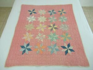 DOLL HOUSE, CRIB Vintage Turn Of Century Cotton & Feed Sack TOUCHING STARS Quilt