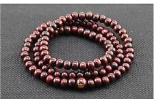 Tibetan 6mm Red Sandalwood Buddhist Prayer Beads Mala Bracelet