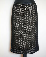 Diane Von Furstenberg Black/Nude Floral Lace Skirt, Size:36/38?