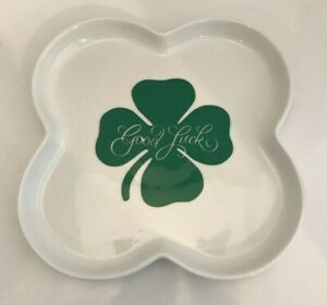 Good Luck Four Leaf Clover Crate & Barrel Serving Tray Appetizer Dish