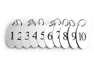Silver Key Rings, Fobs, Tags, Numbered, Numbers, 1 to 10 - Metallic Oval Acrylic