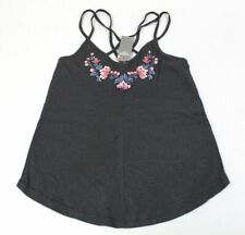 Abercrombie & Fitch Women's Floral Embroidered Cami Top AB3 Black Size XS NWT