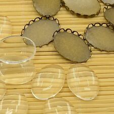 10set Antique Bronze Brass Cabochon Settings Oval Transparent Clear Glass Making