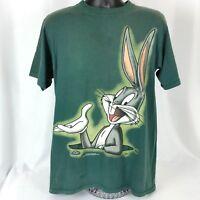 Vintage Bugs Bunny Mens Med 90s Tee Shirt Green Short Sleeve Looney Tunes 1995