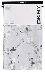 DKNY Spring Blossom Floral Branches 2pc Pair Window Curtain Panels Drapery Grey