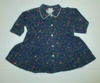 INFANT GIRLS BABY GAP VINTAGE BLUE & RED FLORAL BUTTON DOWN DRESS SIZE 6-12 MON