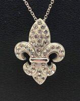"Sterling Silver 925 White Enamel CZ Cluster Religious Saint Cross Necklace 18"""