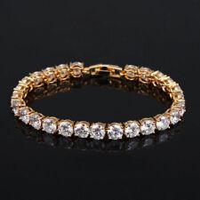 Ladies Silver Clear Cubic Zirconia Round Bangle Bracelet Wedding Jewelry Diamon