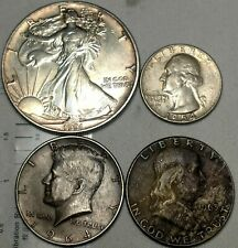 US 90% + Bullion Silver Coins 1991 ASE & Ken & Franklin Half Dollar & Quarter