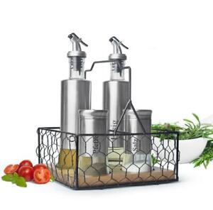 5-tlg. Menage Set mit Korb Salz & Pfefferstreuer Ölspender Essigspender