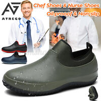 AtreGo Men Chef Shoes Safety Work Nonslip Oil & Water Proof for Kitchen Car Was