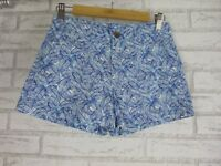 GAP Short Shorts Sz 2 [6] Blue, White Leaf Print