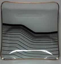 Glass square candy bowl. Gold edge. Black graphic design