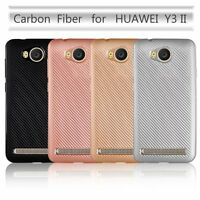 New-For Huawei Y3 II Y3 2nd Slim Synthetic fiber Carbon Fiber Plastic Cover Case