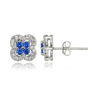 Four Leaf Clover Created Sapphire & Cubic Zirconia Stud Earrings in 925 Silver