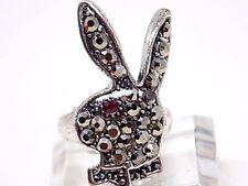 Women's Black Rhinestone Playboy Bunny Tibetan Ring, W/Gift Box!