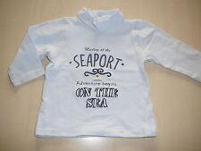 VERTBAUDET superbe chemise manches longues taille 68 bleu clair avec motif d'impression!!!