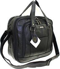 Lorenz Mens Womens Real Leather Travel Holdall Cabin Weekend Shoulder Case Bag Black