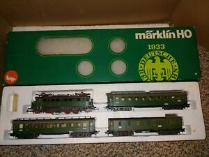 Vintage 70s MIB Mint Marklin HO Train 2850 Set,E0414 Locomotive,3 Passenger Cars