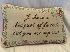 Friendship Tapestry Throw Pillow Bouquet Of Friends You Are Rose Floral Red Sm