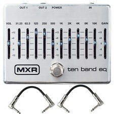 MXR M108S 10-Band Graphic EQ Guitar Bass Effects True Bypass Pedal + Cables