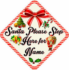 Personalised Santa Stop Here Window Sign ~ New Retro Cream & Red 287