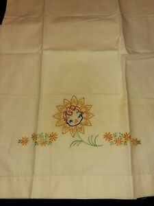 Vintage Embroidered Flowere with baby  Baby Crib Flat Sheet/pillowcase Perfect!