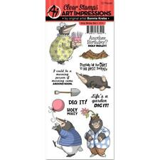 New Art Impressions CLEAR Rubber Stamp set Friendship HOLY MOLEY FREE US SHIP