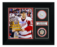 Nicklas Lidstrom Red Wings 2002 Stanley Cup Signed & Game Used Net 20x24 Frame