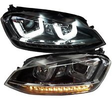 VW Golf 7 LED Tagfahrlicht Scheinwerfer schwarz LED Blinker links rechts H7 SATZ