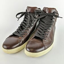 "TOM FORD Brown Italian Leather ""TF"" High Top Fashion Sneakers Size 12"