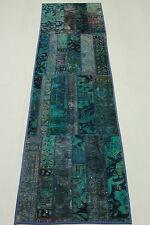 Perserteppich Patchwork Läufer Vintage Das Original türkis 300x80 Used Look 1454