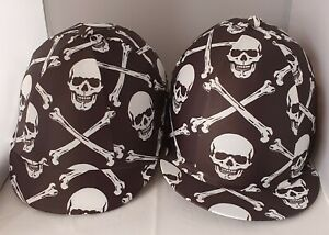 RIDING HAT COVER - HALLOWEEN - BLACK & WHITE - SCULL & CROSSBONES SCARY