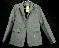 Shi Long Fashion Women's Large Black & White Single Button Jacket Blazer Career