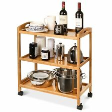 Wooden 3 Tier Hostess Serving Trolley Kitchen Drinks Cart Tray Side Table